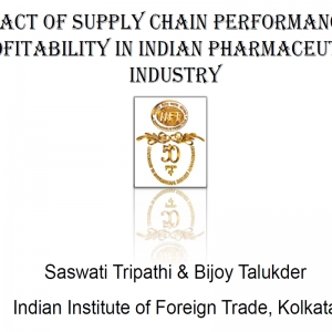 Impact of Supply Chain Performance on Profitability in Indian Pharmaceutical Industry