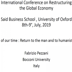The crisis of our time : Return to the man and to humanistic culture
