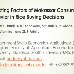 Affecting Factors of Makassar Consumer Behavior in Rice Buying Decisions
